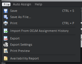 Assignments Editor File Menu