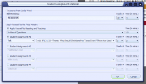 Screenshot of the Student Material window.