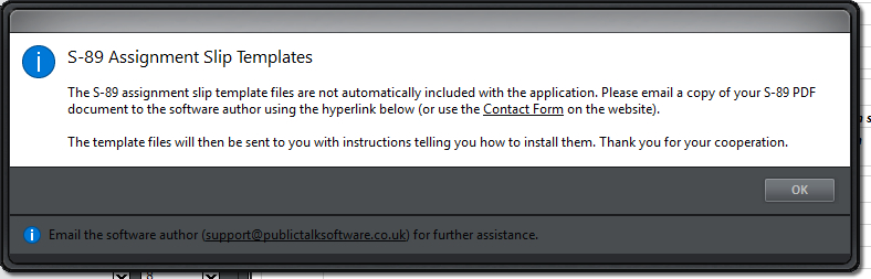 Install slips pop-up window
