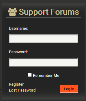 Footer login / register form