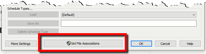Options Window — File Type Associations