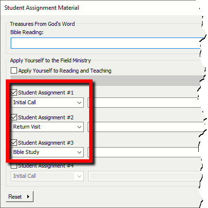 Student Material Default Values