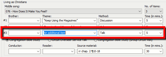 The editor now supports a third item