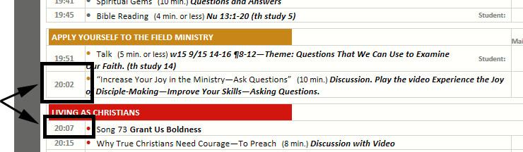 Extract from workbook schedule