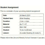 Alternative Student Assignment Slip