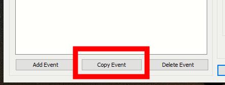 New Copy Event button