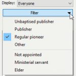 New publishers database filter menu