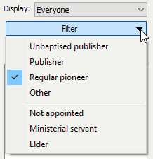 Filter by Serving as / Appointed as